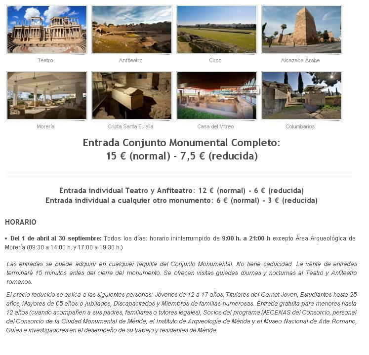 Entrada conjunto monumental en Mérida - Los viajes de margalliver